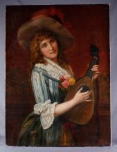 A. Hilacher. Large Oil on Canvas,19th C.