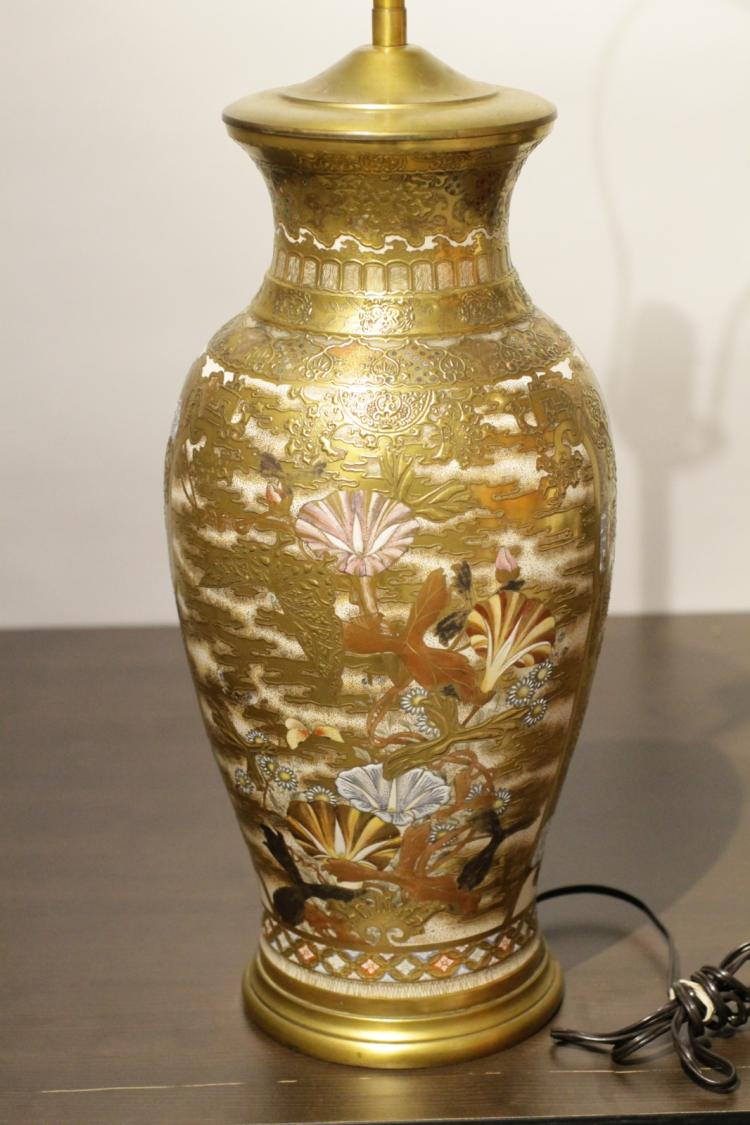 Antique japanese satsuma porcelain lamp for Asian antiques uk