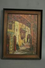 Impressionist Oil on Board Painting of Jerusalem