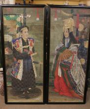 Pair of Japanese Watercolor Painting of Man&Woman