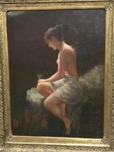 Large Oil on Canvas w/ Gilt Frame