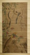 Antique Japanese Scroll Painting of Birds&Flowers