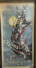 Chinese Scroll Painting, Flowers under Moon