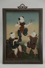 19/20th C. Chinese Reverse Glass Painting