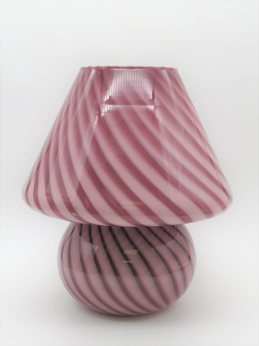 Vintage Murano Pink Swirl Glass Mushroom Lamp