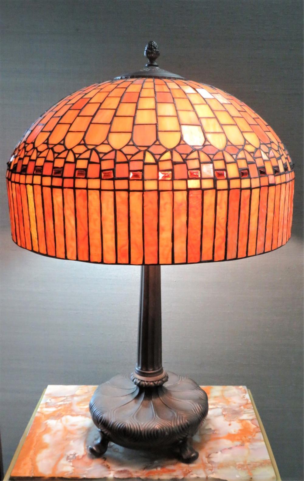 Vintage Tiffany Style Leaded Lamp Shade & Base