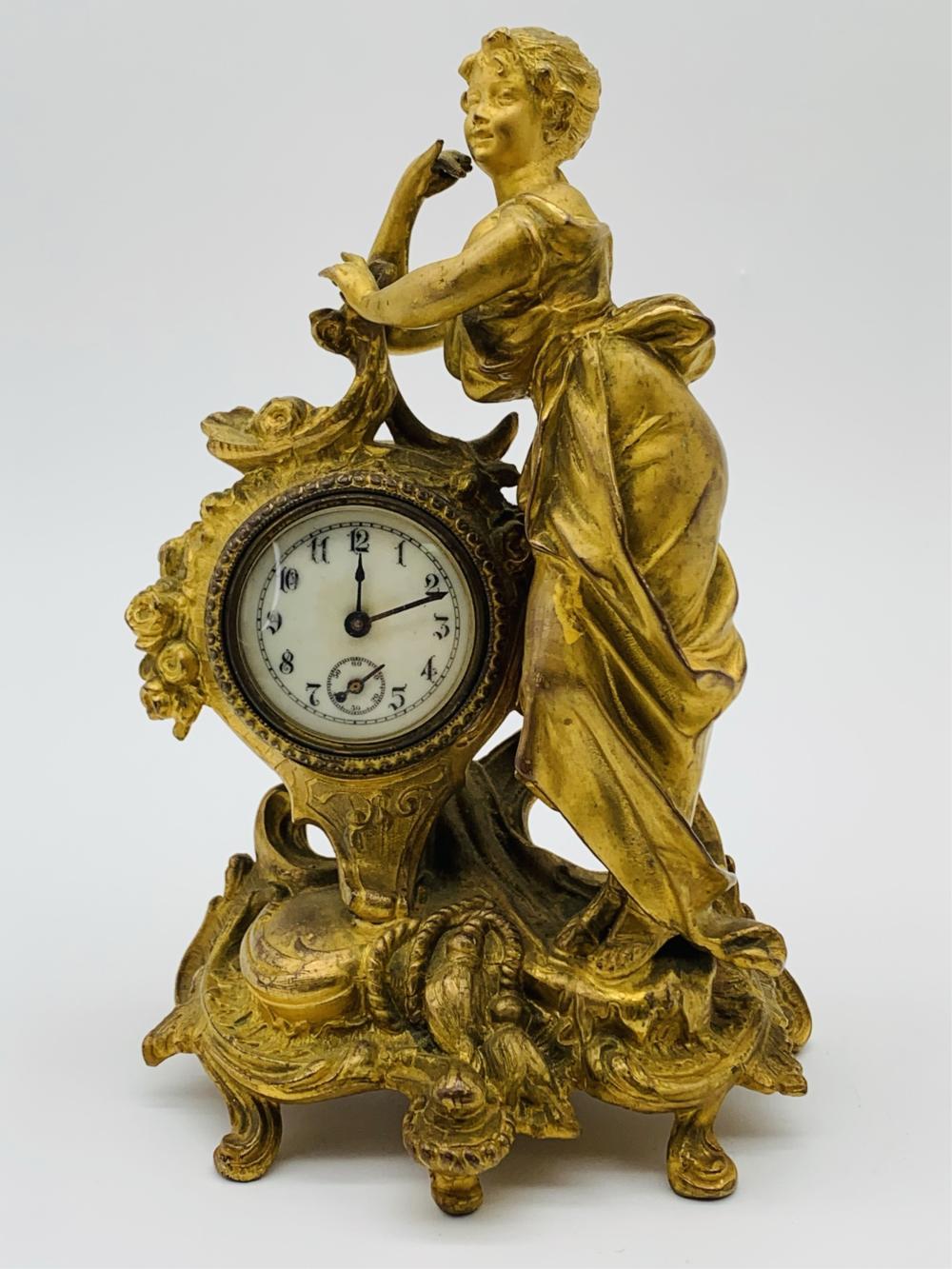 Antique Gilt Bronze Figural Clock