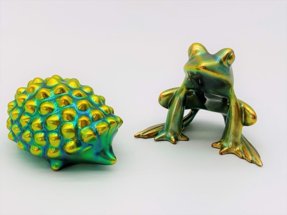 2 Zsolnay Eosin Iridescent Animal Figures