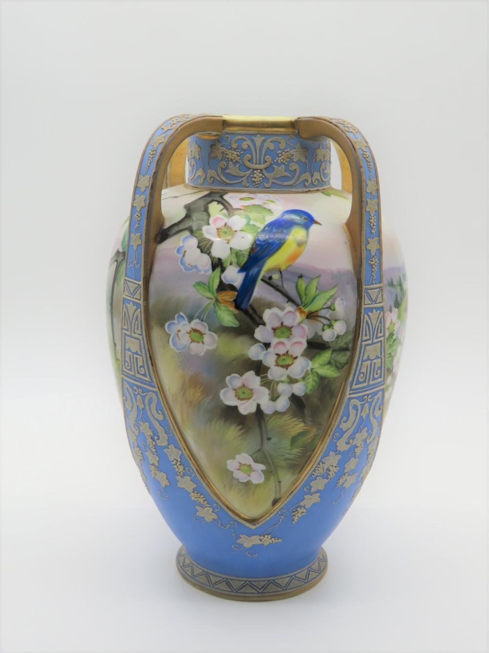 Antique Nippon Moriage Handled Vase