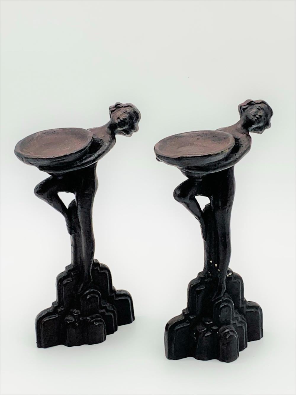 Pair Art Deco Spelter Figural Compotes