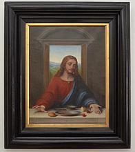 1892 Signed Grignardo Last Supper O/C of Jesus