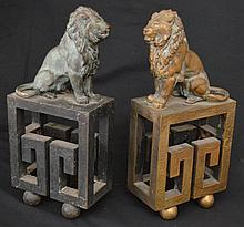 Pair of Magnificent Bronze Lion Bookends