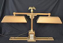 Large Brass Bank Lamp with Eagle