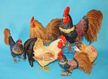 Lot Of 5 Fun Decorative Straw Roosters