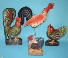 Nice Lot Of 4 Large Decorative Roosters