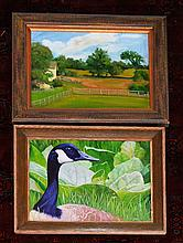2 Paintings Signed Paintings (Landscape, Goose)