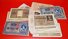 Large Group of Reichs banknotes & Kronens