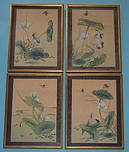 4 Antique Chinese Bird & Pond Watercolors