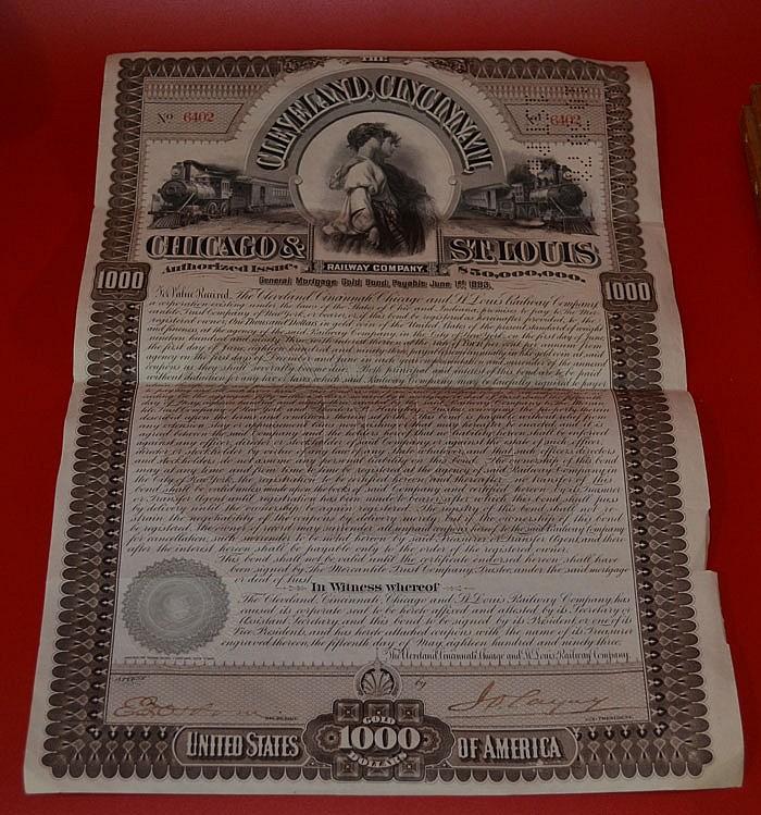 Antique Railway $1000 Mortgage Bond