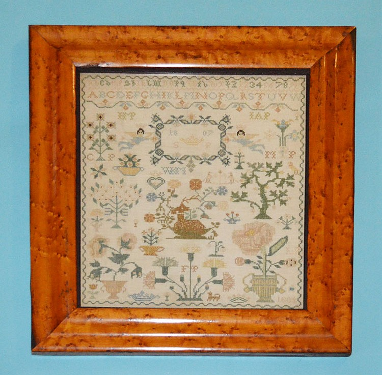 Antique Needlework Sampler in Birds Eye Frame