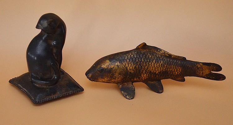 Whimsical Bronze Cat & Iron Koi Fish Statues