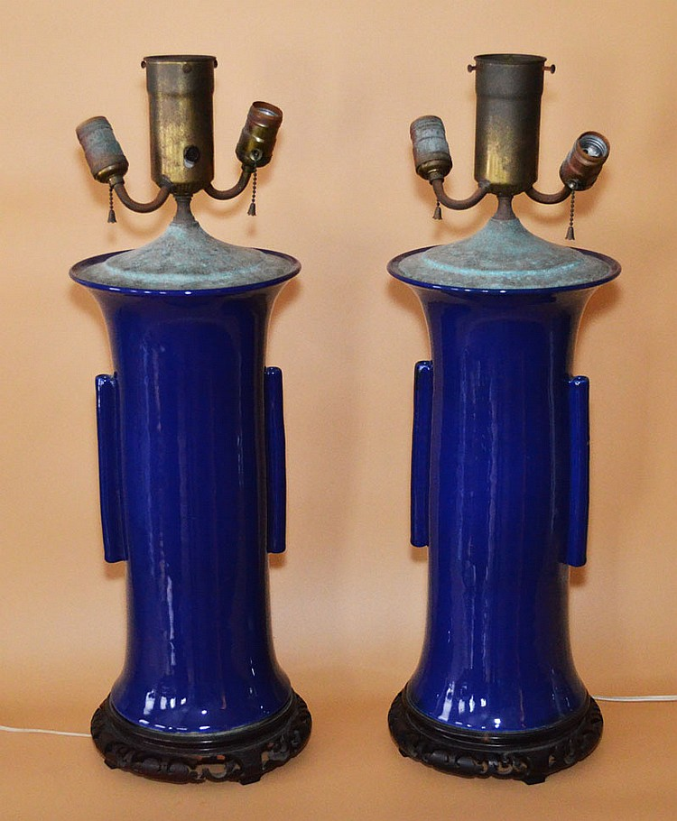 Pair of Chinese Blue Porcelain Lamps