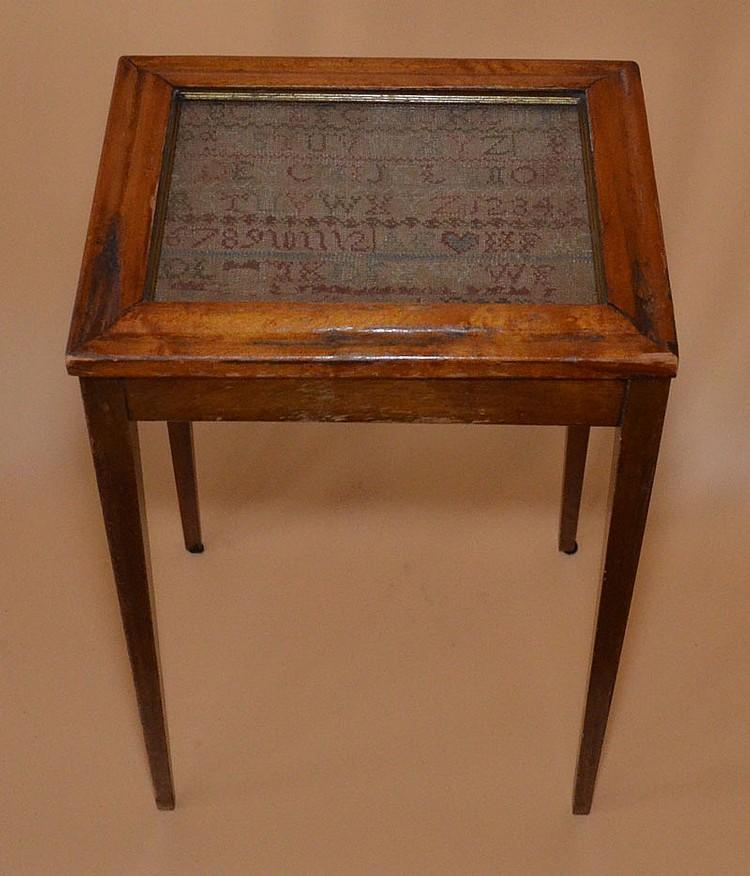 Antique Framed Sampler Needlework Table