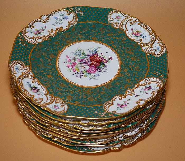 9 Copeland Painted Porcelain Plates