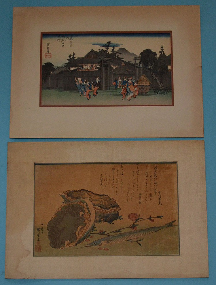 2 Antique Hiroshige Woodblock Prints