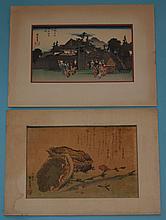 2 Antique Hiroshige Woodblock Prints