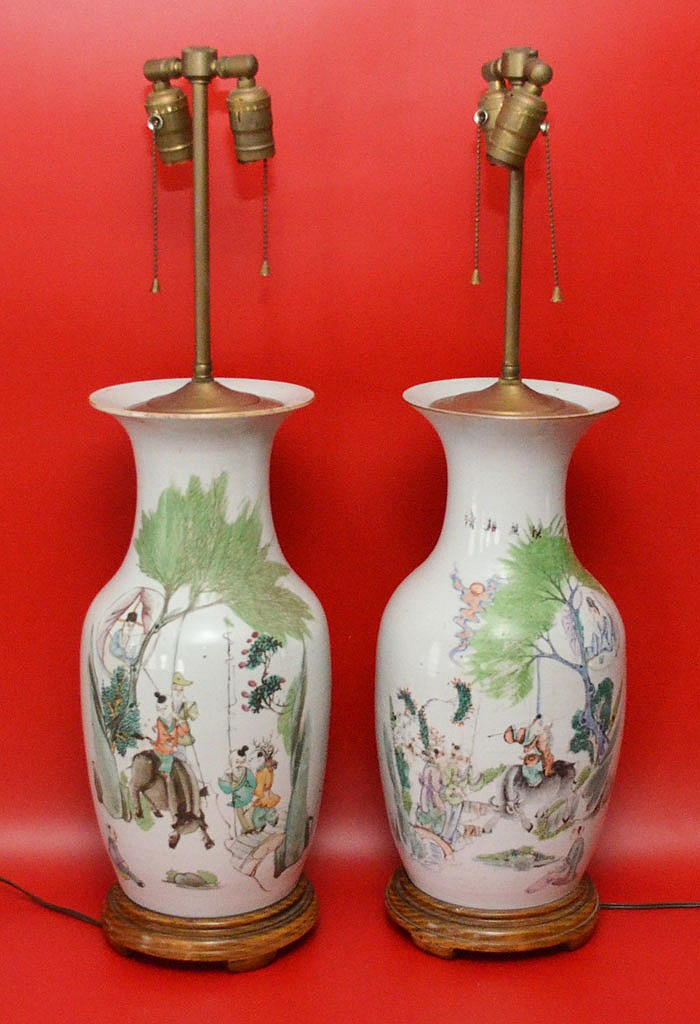 Pair of Early Chinese Porcelain Vase Lamps