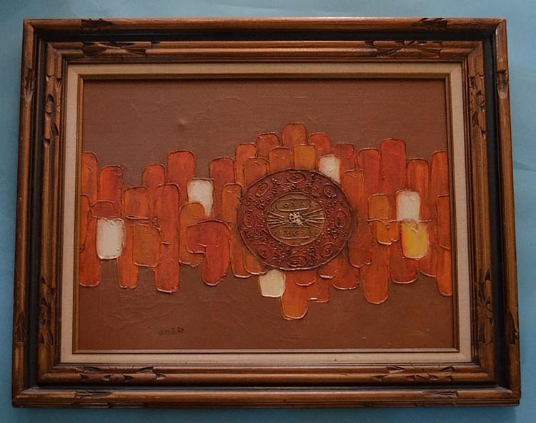 W. Knight Mid Century Modern Orange Painting