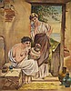T. Tuttle 1874 Grecian Oil on Canvas Painting