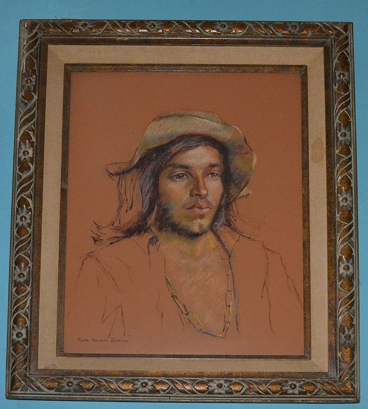 Flora Giffuni Pastel Portrait Drawing of a Man