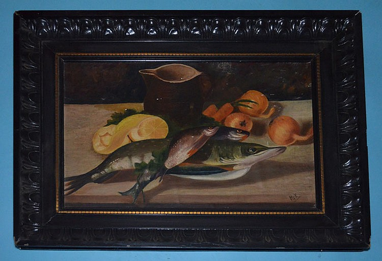 Signed MFK German Fish Still Life Painting
