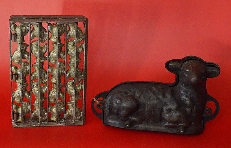 2 Antique Chocolate Molds (Lamb & Turkey)