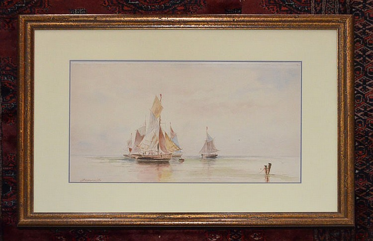 Watercolor of a Ship Signed J. Somerville