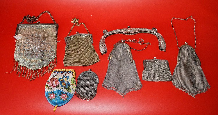 8 Antique Mesh Purses & Purse Parts