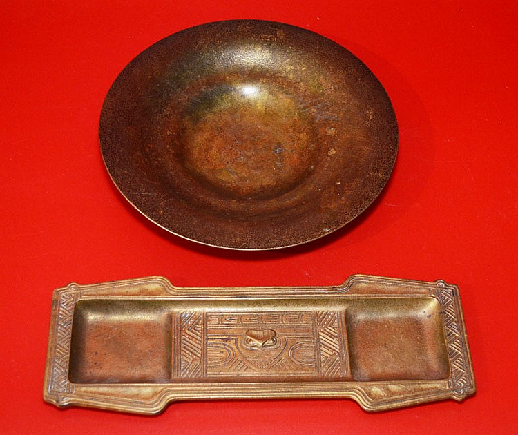 Tiffany Studios Bronze American Indian Tray & a Bowl