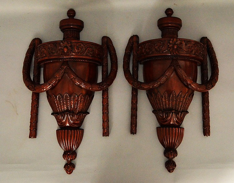 Pair of Maitland Smith Carved Wood Wall Urn Corbels