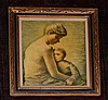 Signed Langley Painting of Mother & Child