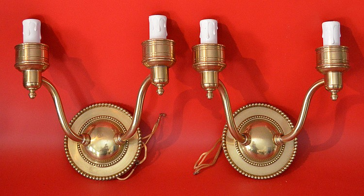 2 Pairs of Brass Wall Sconces
