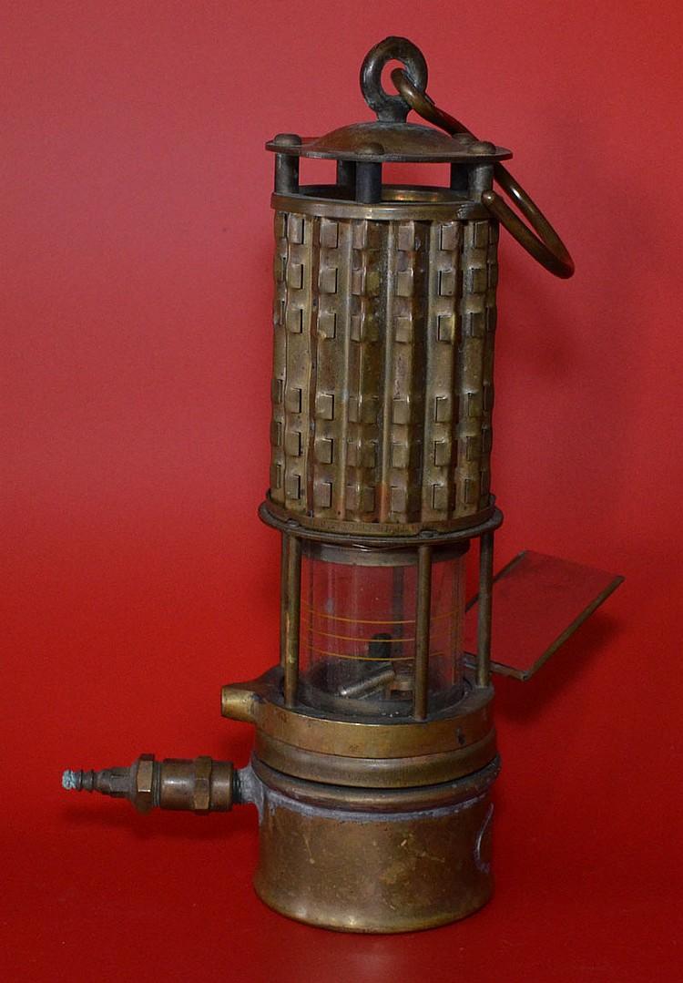 Wolf Safety Lamp Brass Mining Lantern w Mirror