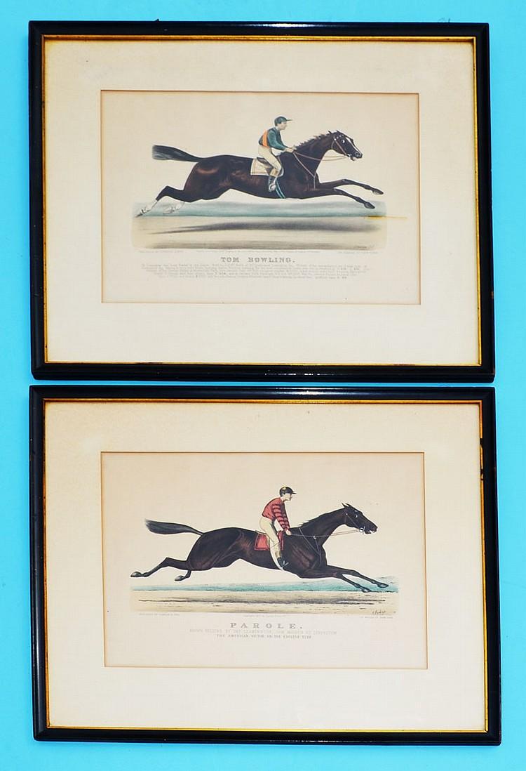 Pair Currier & Ives Prints Tom Bowling & Parole