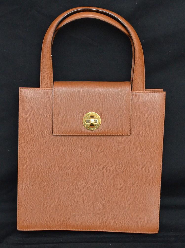 Brown Leather with Brass Bulgari Purse