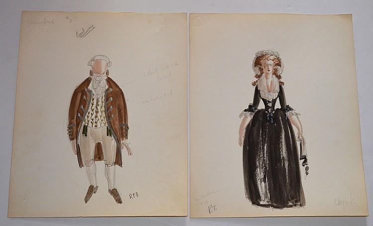 2 Raoul Pene Du Bois Fashion Drawings (Kellaway, Goddard)