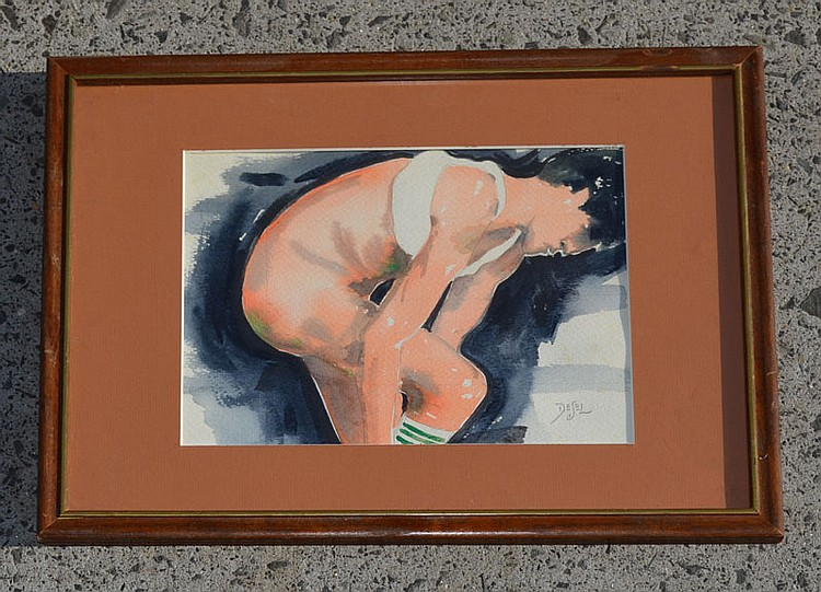 Nude Male Watercolor Signed DESEL