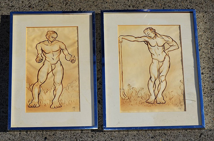 2 Richard Ely Nude Male Study Gouaches