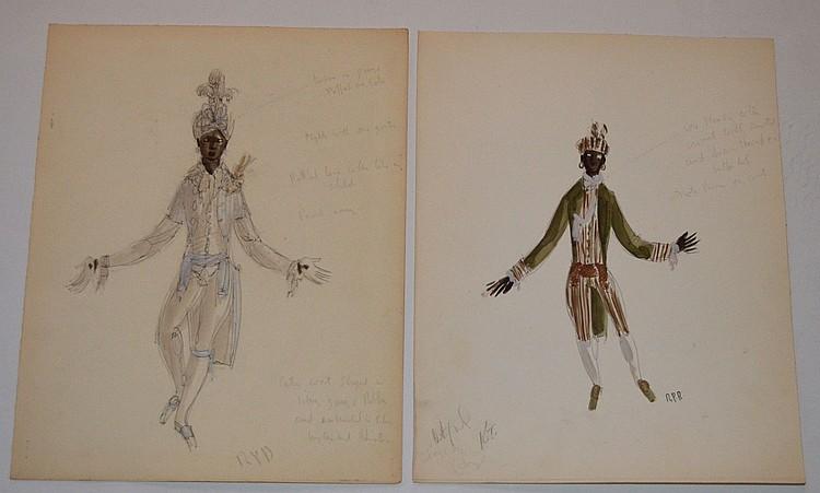 2 Raoul Pene Du Bois Fashion Drawings, Blackmores