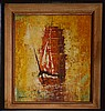 Wen Chi Lucas Impressionist Oil Painting of Ship